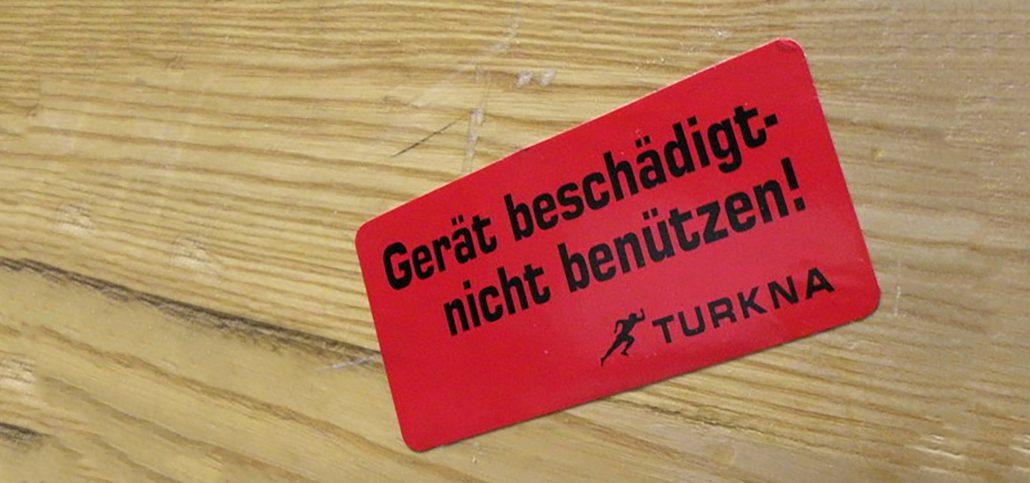Sticker mit Gerät beschädigt Aufschrift
